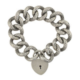 Victorian Sterling Repousse Link Bracelet with Padlock Heart Clasp