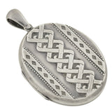 Victorian Sterling Reversible Locket with Braid & Fleur Motif