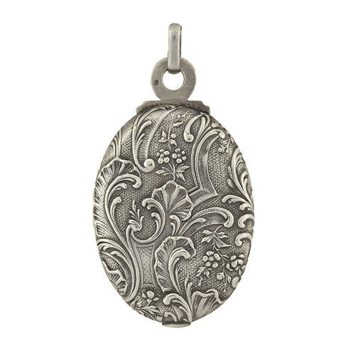 Victorian Sterling Silver Repousse Slide Locket
