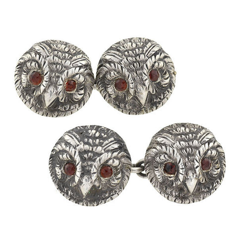 VINCENT SIMONE Vintage Sterling Double-Sided Owl Cuff Links