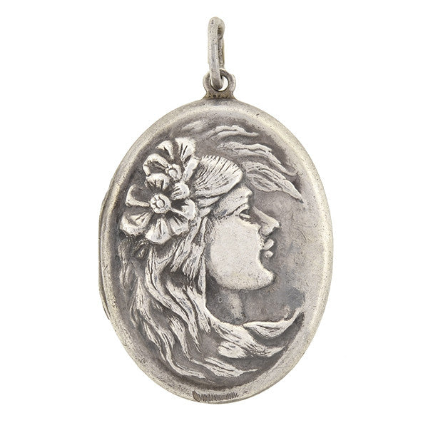 Art Nouveau Sterling Silver Repousse Woman Locket