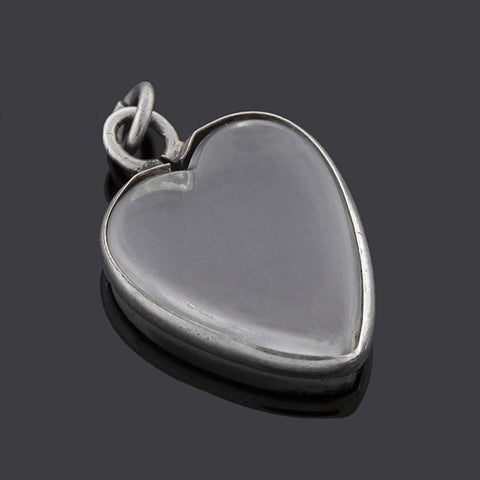 Art Deco Sterling & Rock Quartz Crystal Heart Pendant