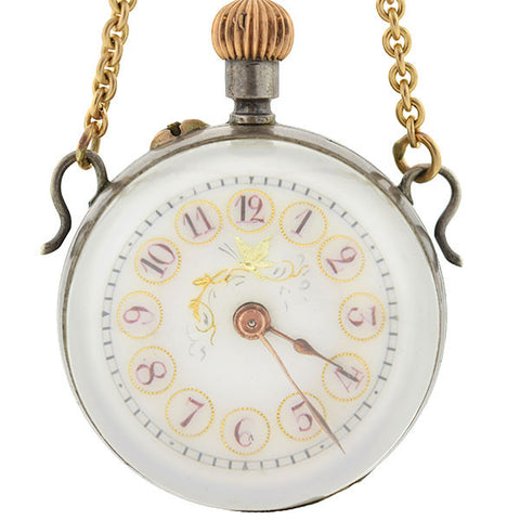 Victorian 14K Sterling & Rock Quartz Watch Pendant