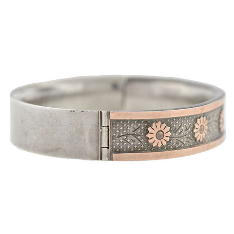 Victorian Silver Mixed Metals Bangle Bracelet