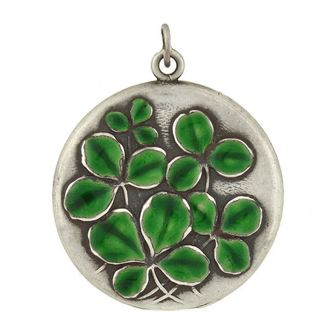 Art Nouveau Sterling Raised Enameled Clover Locket