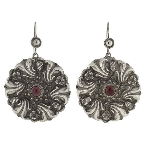 Estate Large Sterling Repousse & Garnet Earrings