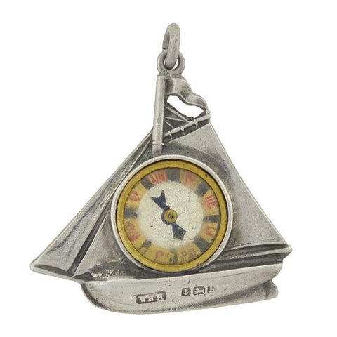 Victorian Sterling Sailboat Compass Fob/Pendant