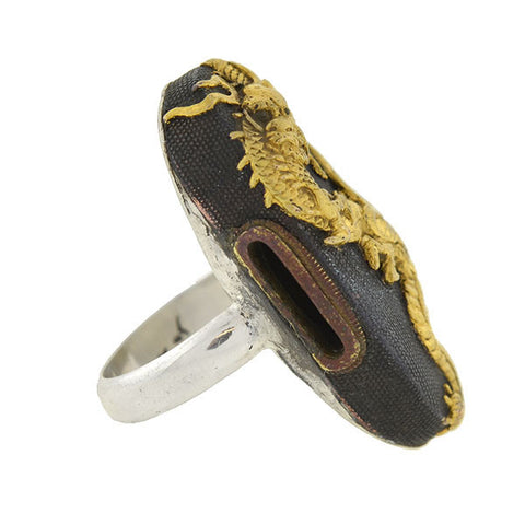 Victorian Sterling 18kt Shakudo Dragon Plaque Ring