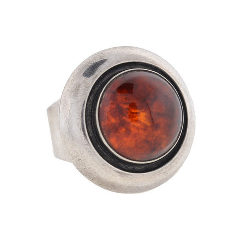 NEILS ERIK FROM Vintage Sterling Silver Amber Ring