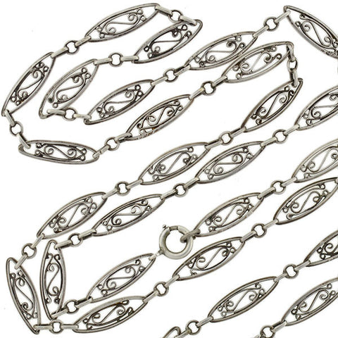 "Victorian Sterling Silver Filigree Muff Chain 42"" Long"