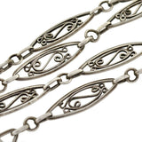 Victorian Sterling Silver Filigree Muff Chain 42
