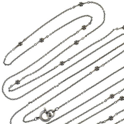 Victorian Sterling Silver Love Knot Chain 60""