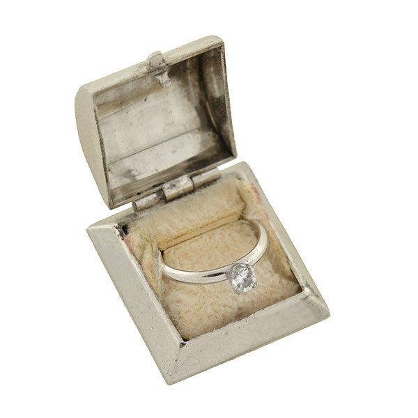 Retro Sterling Silver Miniature Engagement Ring & Box Charm