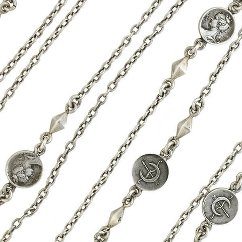 Victorian Sterling Silver Roman Coin Chain Necklace 55""