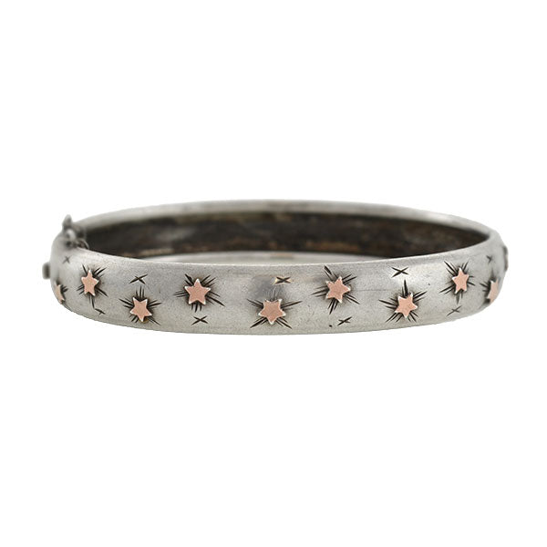 Victorian Sterling/9kt Rose Gold Star Motif Bangle Bracelet