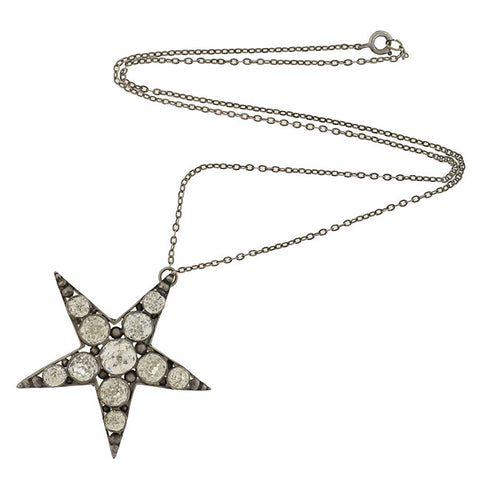 Victorian Sterling French Paste 5-Point Star Pendant Necklace