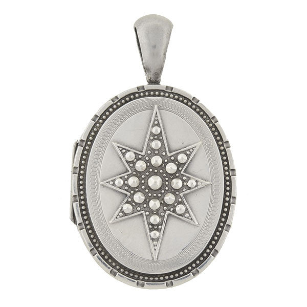 Victorian English Sterling Silver Starburst Motif Locket