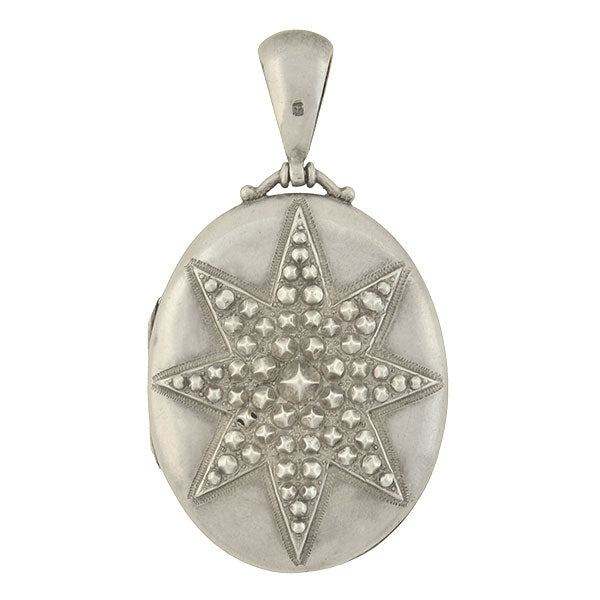 Victorian English Sterling Embossed Starburst Locket