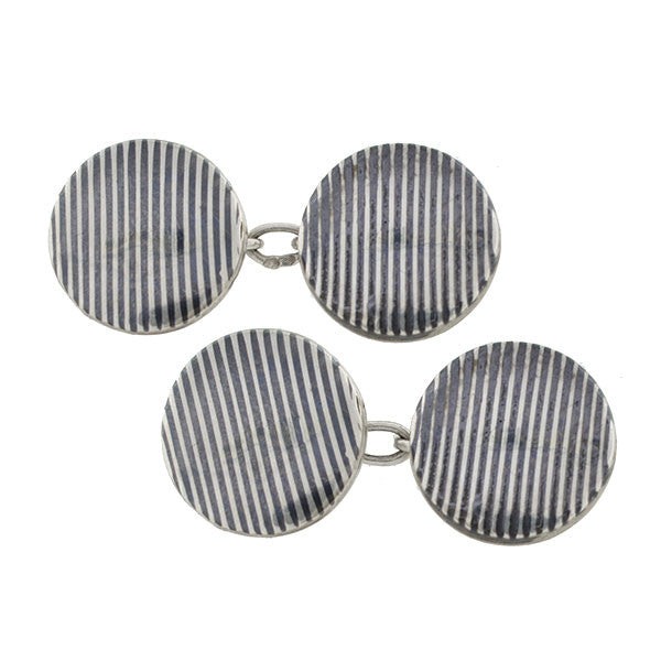 Victorian French Sterling & Striped Niello Enamel Cufflinks
