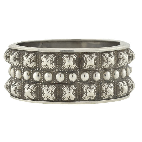 Victorian Sterling Pyramid Stud Wide Bangle Bracelet