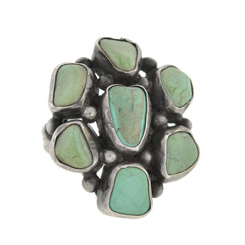 Retro Sterling Silver & Turquoise Cluster Ring