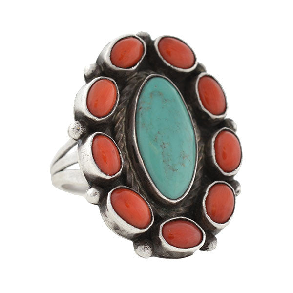 American Indian Sterling Turquoise & Coral Cluster Ring