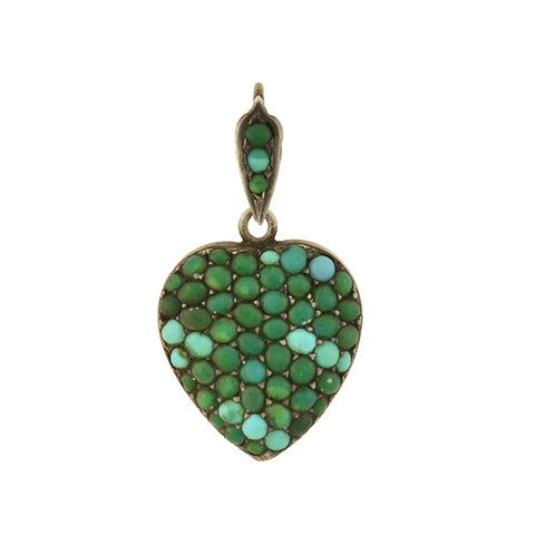 Victorian Sterling Pavé Turquoise Heart Locket Pendant