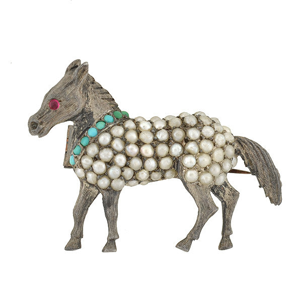 Victorian Sterling Pavé Seed Pearl & Turquoise Pony Pin