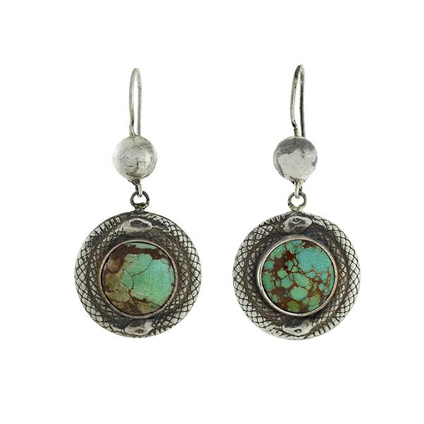 Late Art Deco Sterling Round Turquoise Snake Earrings