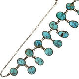 Victorian Sterling & Natural Turquoise Festoon Necklace