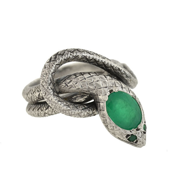 Victorian Sterling Silver Emerald Snake Ring