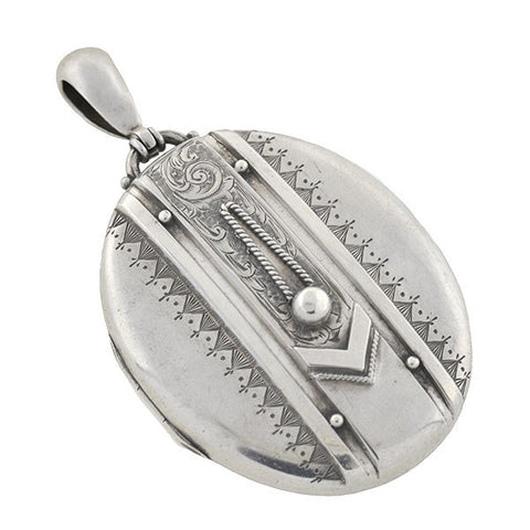 Victorian Sterling Silver Raised Buckle Locket