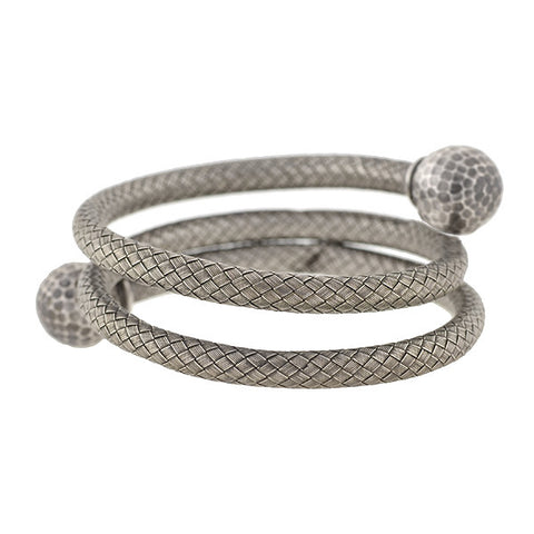 Victorian Sterling Silver Flexible Weaved Coil Bracelet