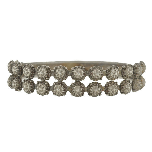 "Victorian Sterling ""Cut Steel"" Hammered Ball Bracelet"