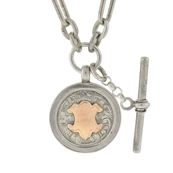 Victorian Sterling Watch Chain & Medallion Necklace