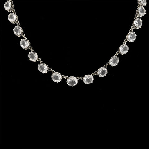 Art Deco Sterling Silver White Topaz Necklace