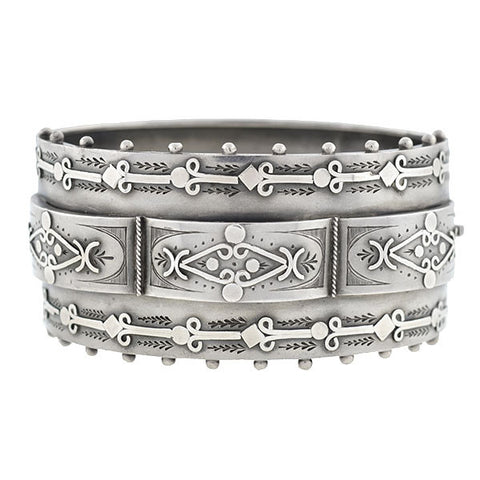 Victorian Sterling Raised Panel & Beadwork Bangle Bracelet