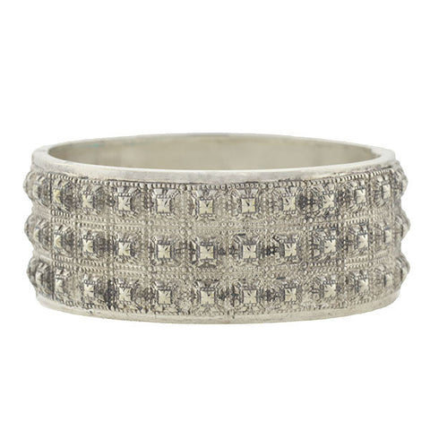 Victorian Sterling Pyramid Stud Bangle Bracelet