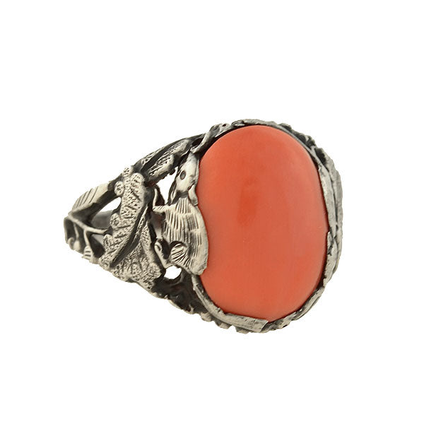 Art Deco Sterling Coral Chinese Year of the Rat Ring