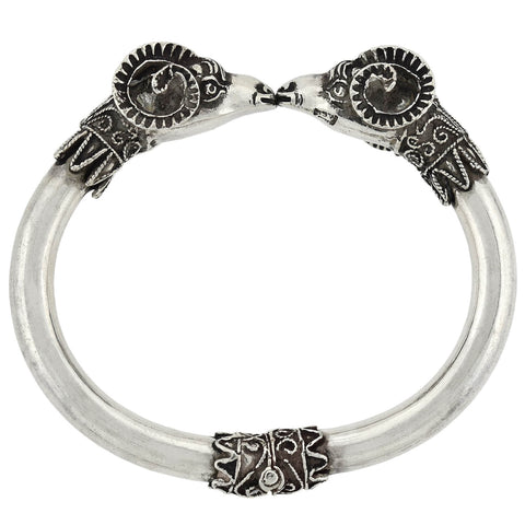Retro Sterling Silver Ram's Head Hinged Bangle Bracelet