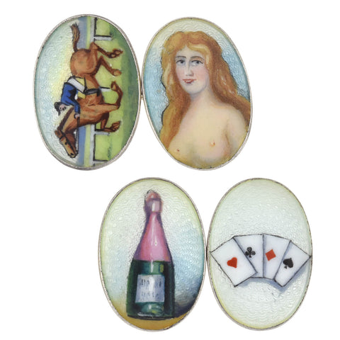 "Victorian Sterling Hand Painted + Guilloché Enameled ""Four Vices"" Cufflinks"