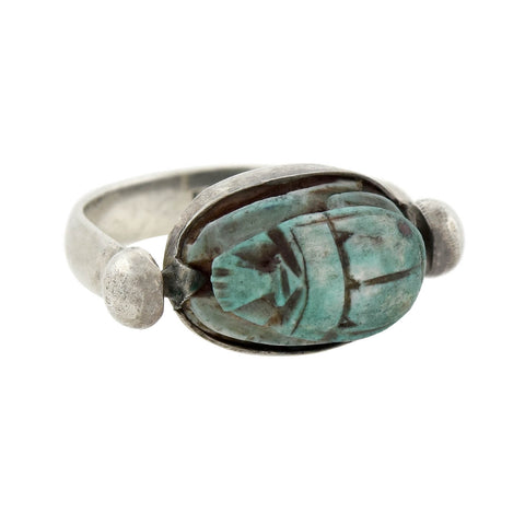 Vintage Egyptian Revival Sterling Faience Scarab Flip Ring