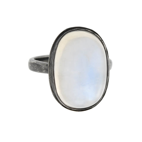Arts & Crafts Style Sterling Foil Backed Cabochon Moonstone Conversion Ring