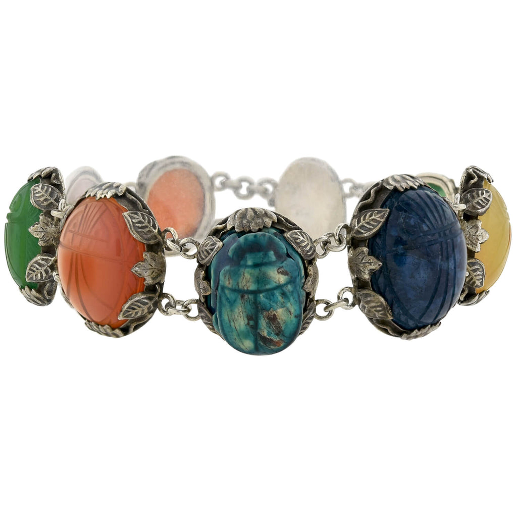 Late Art Deco Sterling Multi Agate + Faience Carved Scarab Link Bracelet