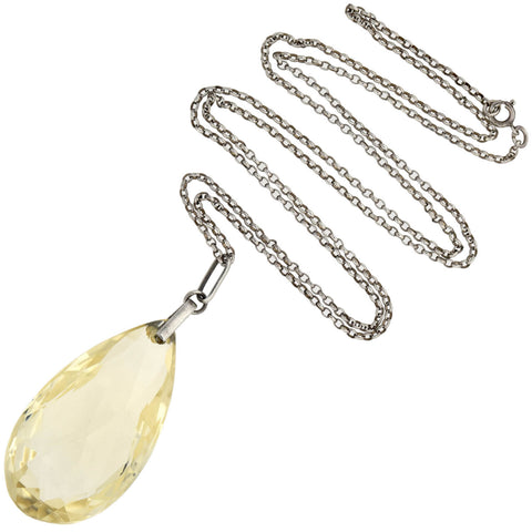 Art Deco Sterling Large Citrine Teardrop Pendant Necklace 25""