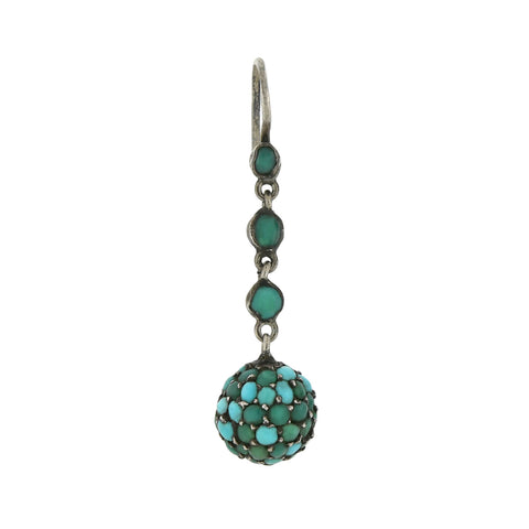 Victorian Silver Pavé Turquoise Dangling Orb Earrings