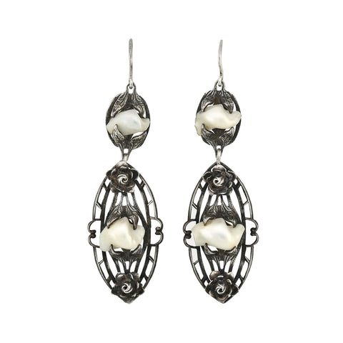 Art Nouveau Sterling Silver Mississippi River Pearl Dangle Earrings