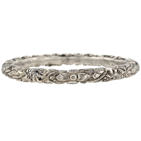 Late Art Deco Sterling Silver Repousse Bangle Bracelet with Dragon Motif