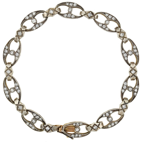Edwardian 14kt/Sterling Diamond Encrusted Link Bracelet 1.75ctw
