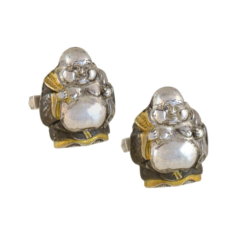 Vintage Sterling Silver + Gold Overlay Buddha Cufflinks